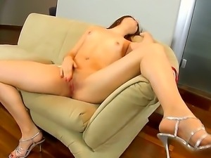 The adorable curve Isabel dances the striptease and touches herself to get...
