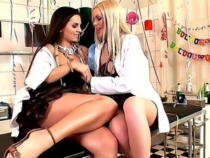 Hot lesbian doctor is celebrating New Year with her new nurse and having hot sex