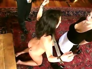 Extreme bdsm tit whipping lesson for hot chicks Charley Chase and Katie Kox...