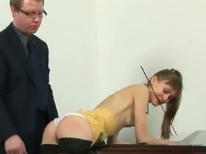 Naughty blonde babe gets spanked by her boss
