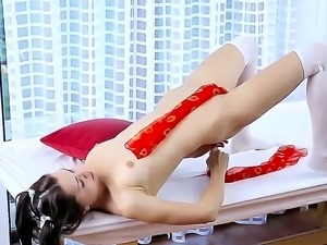 Anita E stimulates her sensitive nipples and gentle pussy with gentle cloth
