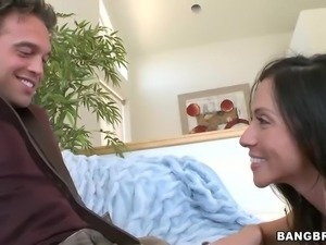 Dark haired milf Ariella Ferrera in black nylon stockings is