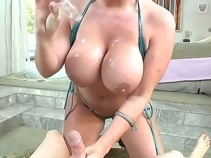 Sophie Dee standing down on her knees and yummy sucking boyfriends huge dick...