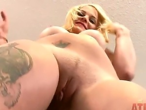 Blonde with natural tits Miss Dallas enjoys having a huge dildo pounding her...