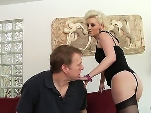 The sexy hot pornstar Cherry Torn in a beautiful black lingerie and stockings...