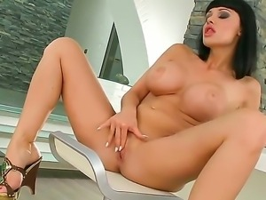 Adorable brunette milf Aletta Ocean enjoys finger fucking her wet cunt