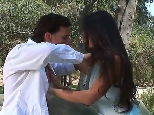 Tony De Sergio gets horny brunette Stephanie Swift out into the woods where...