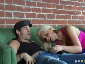 Hot blonde in shies Phoenix Marie spreads her legs and