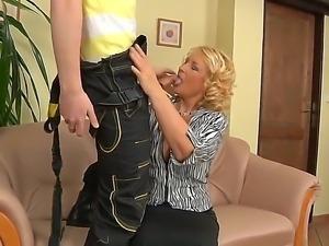 Hardcore scene with a young fucker Mark Zicha and a horny granny named Regi