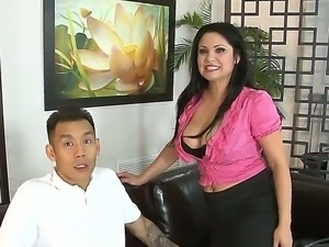 Hot brunet milf ordered an Asian lover guy and she gave him hardcore blowjob