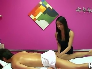Fantastic Asian masseuse Mya makes a professional massage action to Chris...