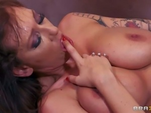 Arousing experienced ball sucking milf brunette Alia Janine with massive