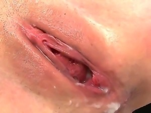 Mason Moore holds her breath, watching how sticky sperm flows out of her cunny