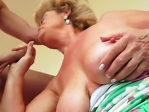 Crazy granny Effie shows her hairy pussy and gets a young dick in the hole
