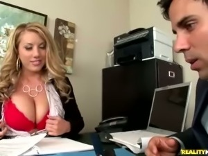 Stress relief is what his busty boss Heather Summers needs