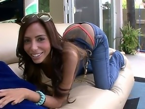 Lela Star hotly posing her ass in tight jeans pants and stripping for filming...
