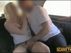 Sexy blonde amateur from the UK gets ass fucked in the taxi