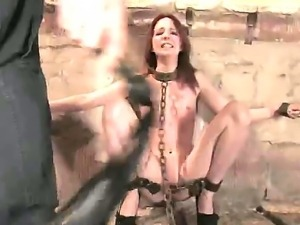 Look at James Deen and amazing redhead babe Megan Murray in hardcore BDSM scene