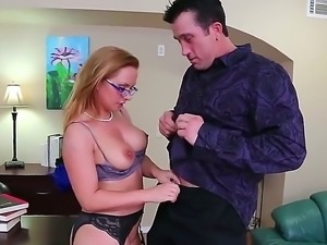 Billy Glide hotly excited his workmate Katja Kassin and licked off her cunt...