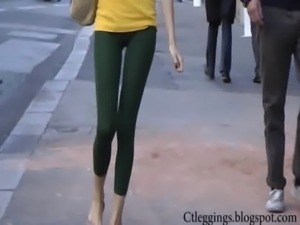 Tight ass street teen walking in tights leggings Vpl! free