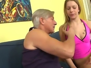 Mature old grandpa Clark gets seduced by a sexy sassy blonde bitch Bernice...