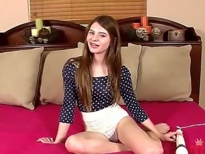 Nice bestial teen bitch Alice March in hot teasing of her pussy with a huge...