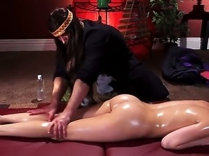 Old-fashioned Mia Malkova gets massaged and penetrated with a hands of the...