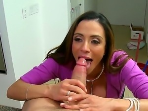 Buxom lady Ariella Ferrera in office style clothes sucks and gets fucked by...