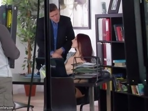 Arousing long haired nerdy young redhead secretary with glasses and