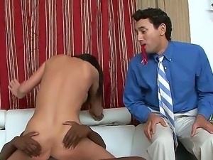 Perverted brunette is sucking and riding a big black cock while the white guy...