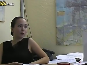 Awesome chick Natasha is having some not boring time on her job in the office
