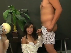 Cute asian brunette Tess Morgan enjoys in giving head and enjoys in hot...