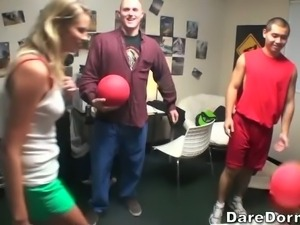 Sweet college blonde and another pretty chick plays dodgeball with