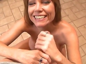 Darla Crane is rubbing oil on her giant tits before she gives stud the best...