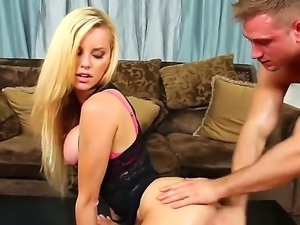 Blonde hottie Jessie Rogers enjoys having her ass drilled by hunk Bill Bailey