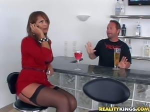 Attractive stressed brunette milf with smoking hot body in tight