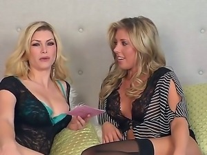 Delicious glamourous blonde chick Heather Vandeven succeed in a hot lesbian...