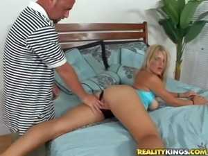 Horny blonde MILF is ready for action. Hot blooded mom