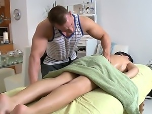 Muscular hunk is getting a hard boner from massaging sexy bombshell Rebeca...