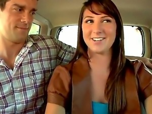 Young teen gets seduced into having hardcore sex and oral in the car