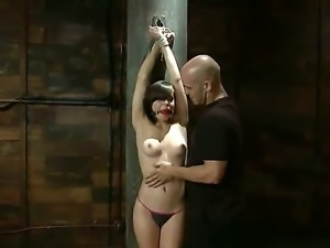 Gagged and tied up Tiffany Star is spanked to satisfy Derrick Pierces lusty...