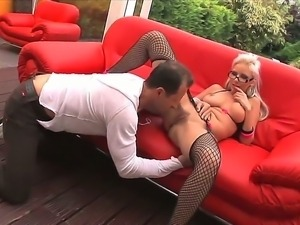 Blonde with big tits Alexis loves having young male licking and fucking her...