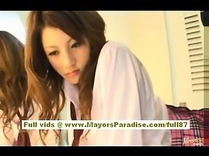 Risa Tsukino Asian girl in waitress uniform enjoys sucking huge cock