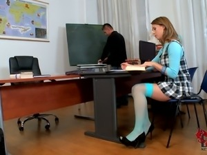 Kitty Cat has long sexy legs teacher can't resist. Student