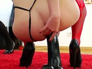 Alysa expanded her asshole with her hands for Isabella Clark, she bent over...
