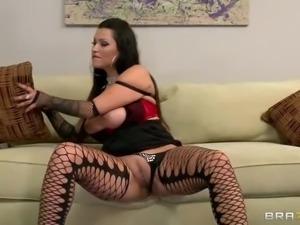 Hot brunette Nikita Denise in black fishnet stockings shakes her