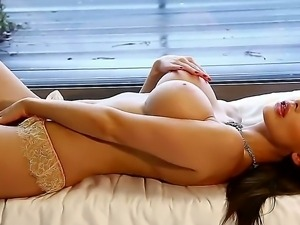 Sweet glamorous and sexy babe Aletta Ocean takes off her lingerie and...