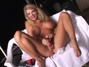 lustful blonde whore has a great time alone