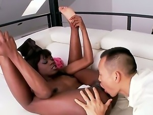 Super hot Ebony Ana Fox was always dreaming to test Asian dick with her pussy