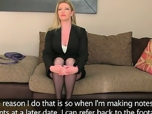 Hot blonde mom fucked on casting